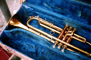Trumpet in blue velvet lined case | by fortinbras