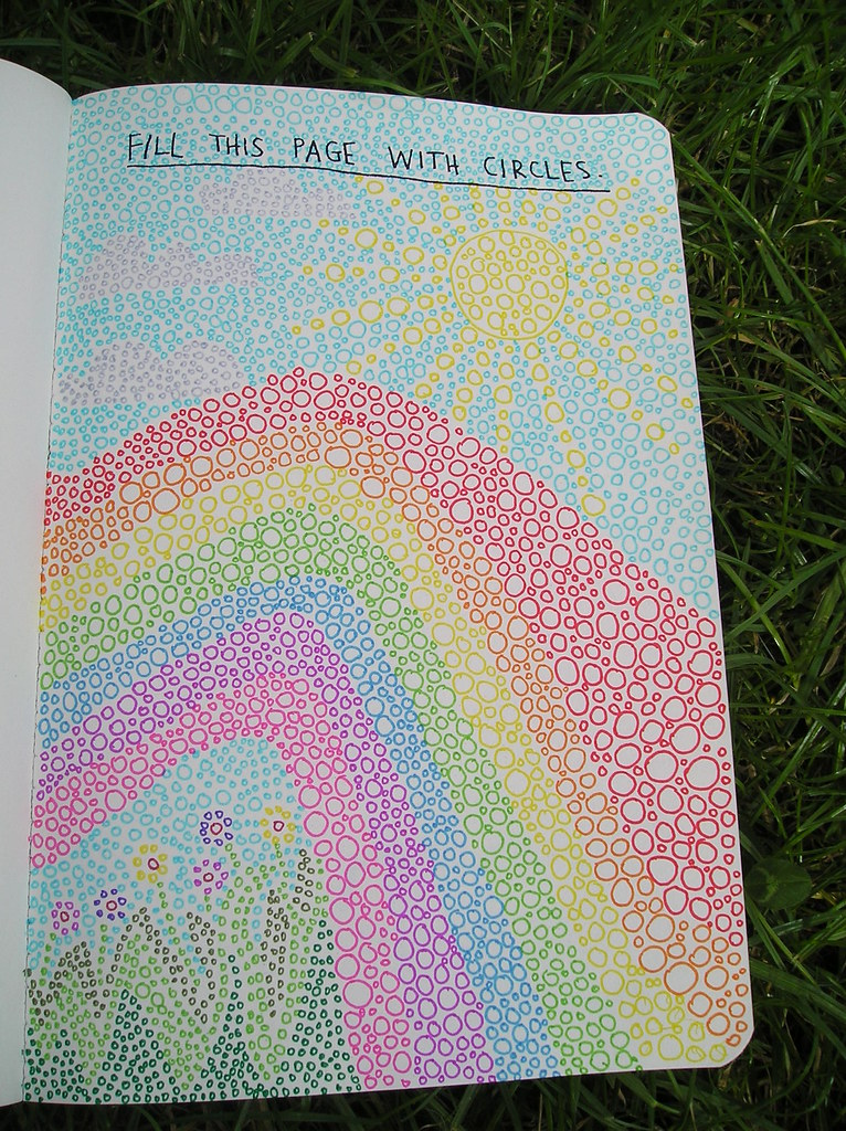 Wreck this journal day 1 Fill this page with circles