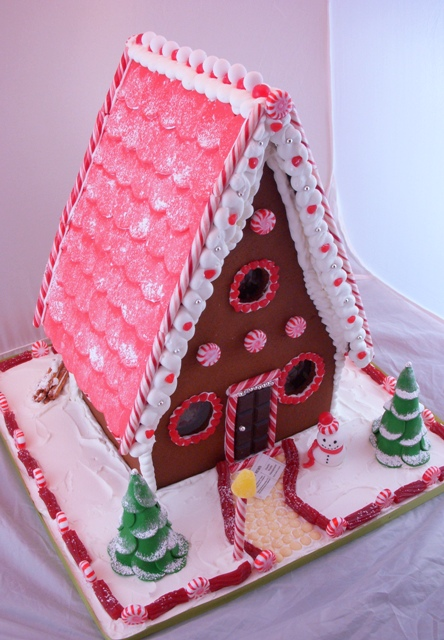Gingerbread House Side Roof Tiles Are Red Fondant
