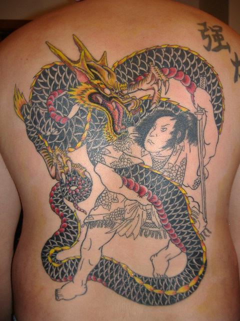 Dragon samurai back tattoo session 3 so far the for Dragon and samurai tattoo meaning