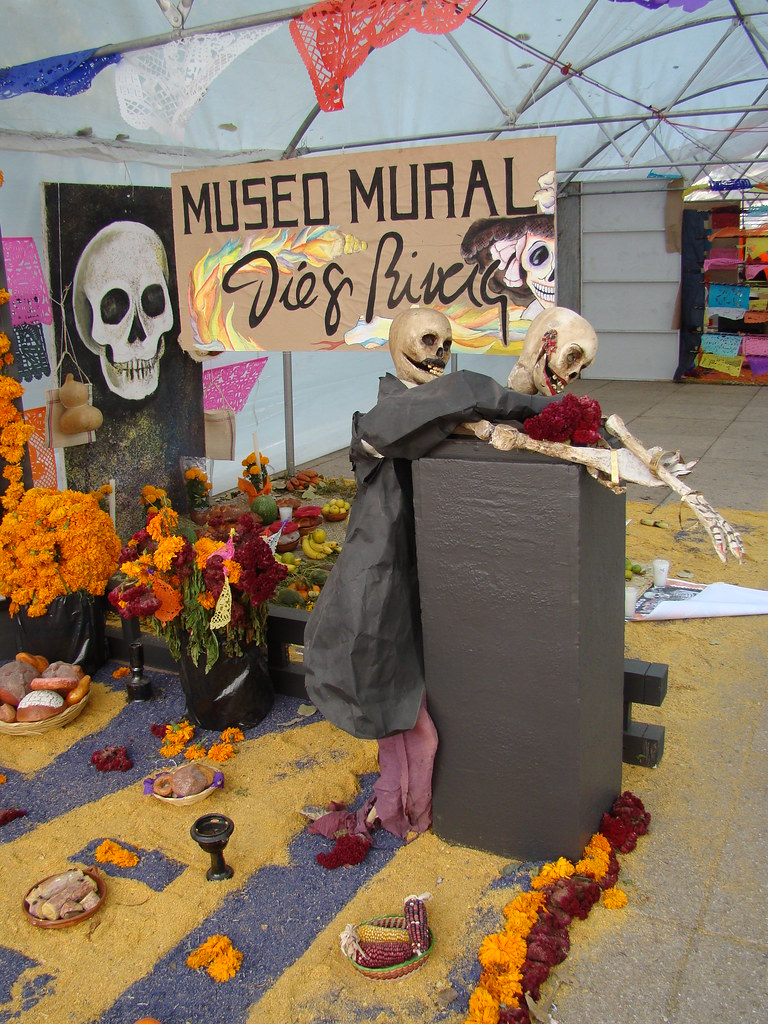Mexico city day of the dead altar with diego rivera them for Diego rivera day of the dead mural