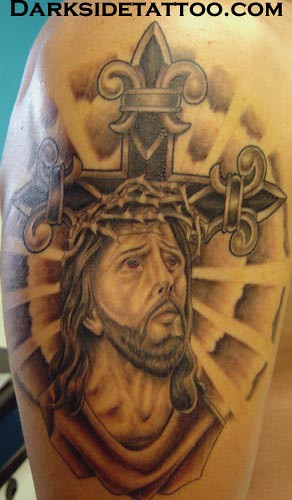 religious tattoo this religious tattoo is more detailed th flickr. Black Bedroom Furniture Sets. Home Design Ideas