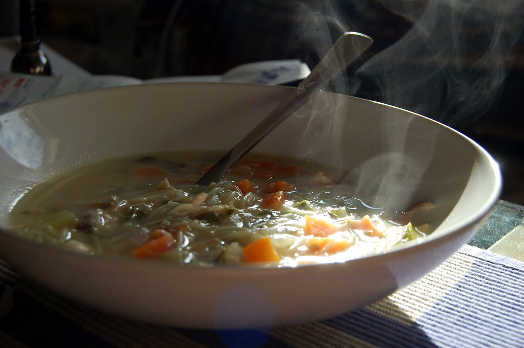 Steam From Soup ~ Swirls of steam i made chicken noodle soup with a