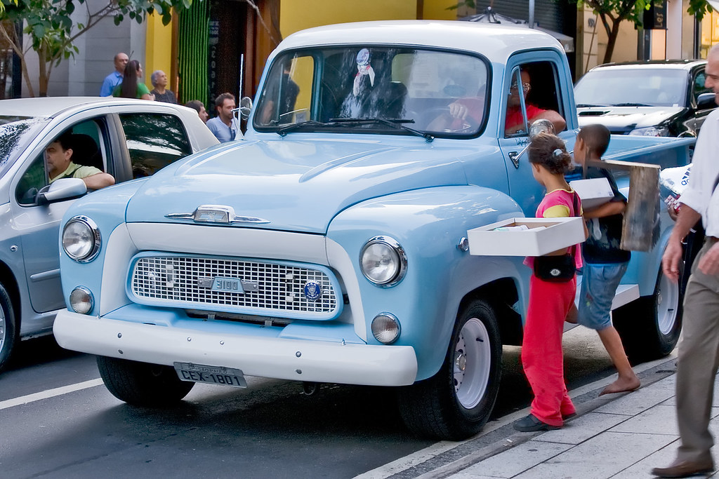 Light Blue Old Chevy Truck in Sao Paulo | This guy was ...