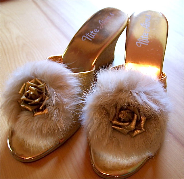 Vintage 1950 39 S Slippers Gold With Real Fur The Queen Of Re Flickr