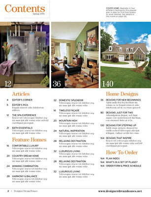 Designer Dream Homes Magazine Contents Editorial Design