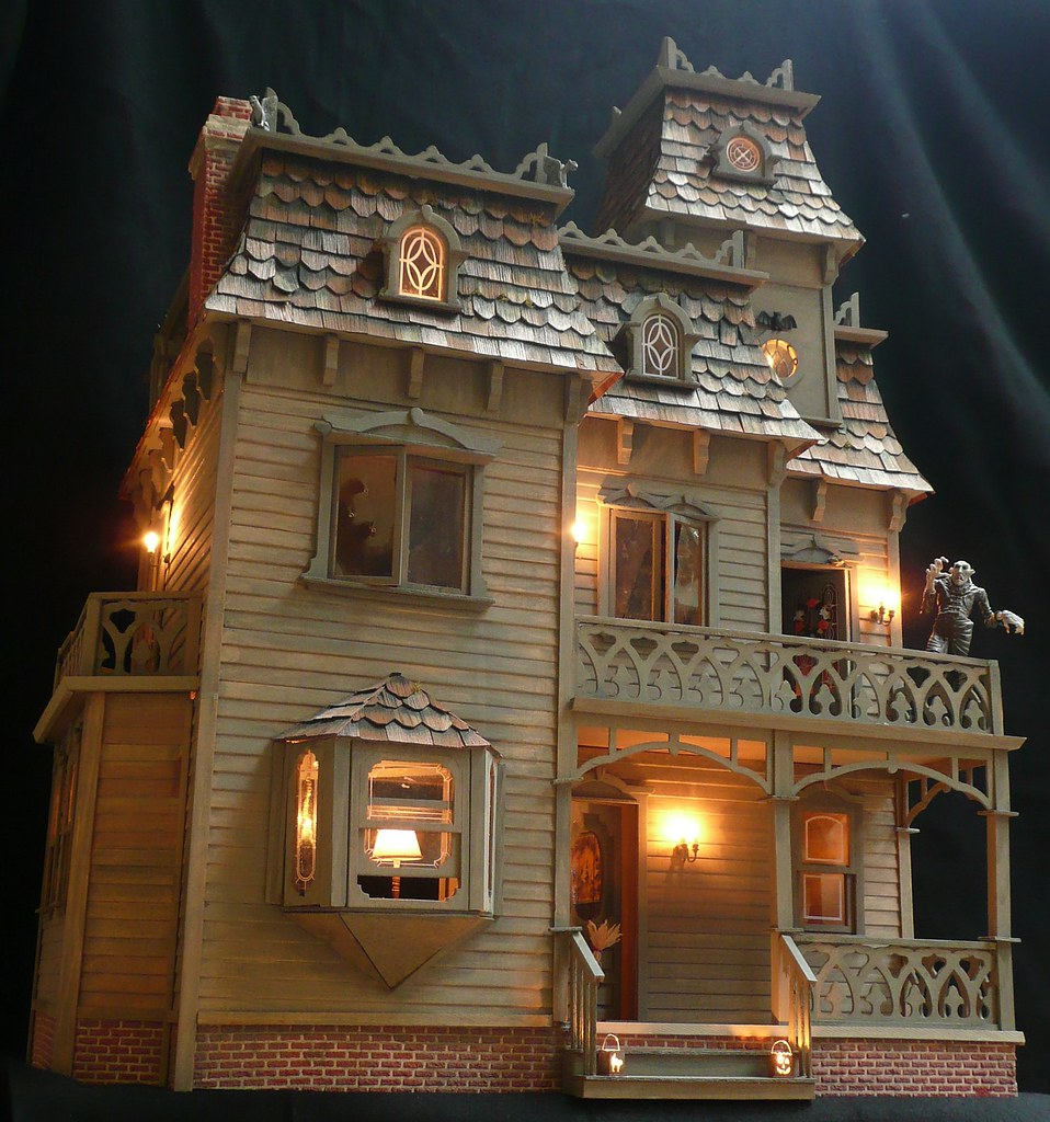 Full Front Dollhouse Lights Aglow This Photo Posted