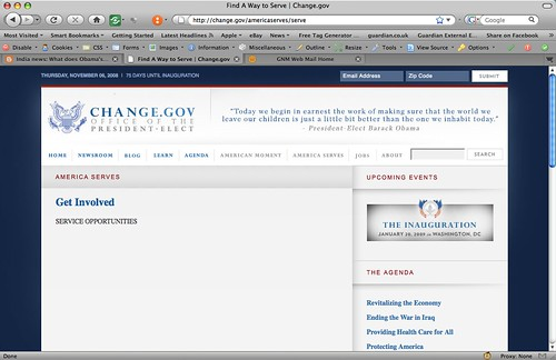 Obama-Biden change.gov holding page for Service Opportunities | by Kevglobal