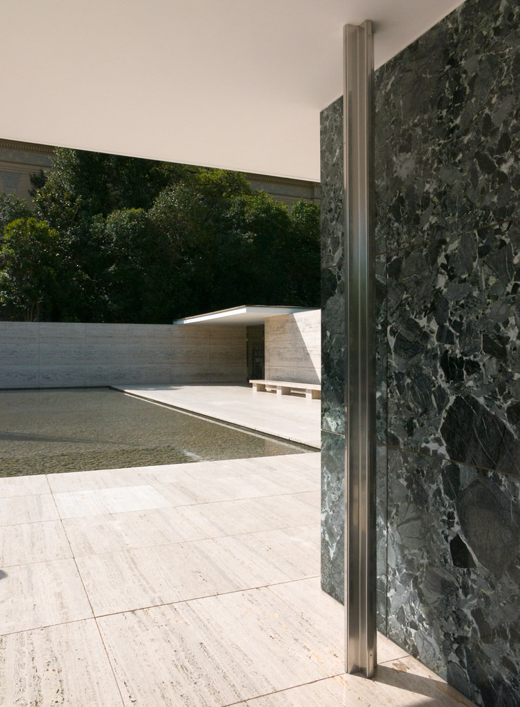 Barcelona Pavilion Stainless Steel Column And Marble