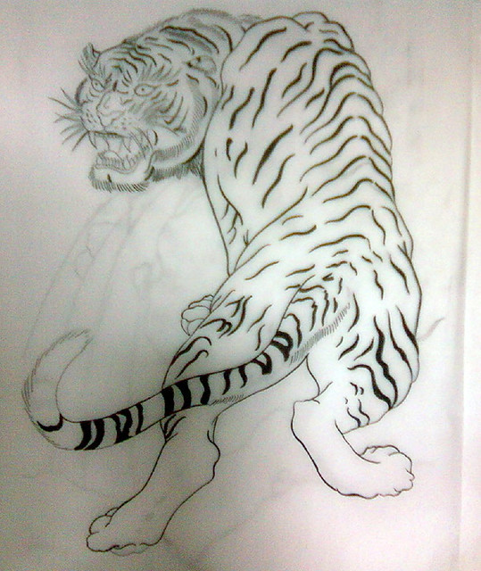 Japanese tattoo flash, tiger, tattoo sketch | Traditional ...