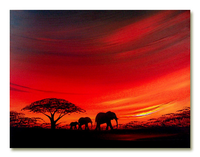 African sunset painting 'Elephant Sunset too' | African ...