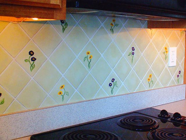 faux painted tile backsplash detail designed and