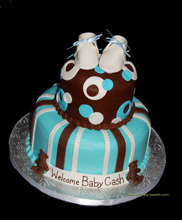 Brown and blue 2 tier baby shower cake with baby shoes and bears | by Sweet Shoppe Mom and Simply Sweets