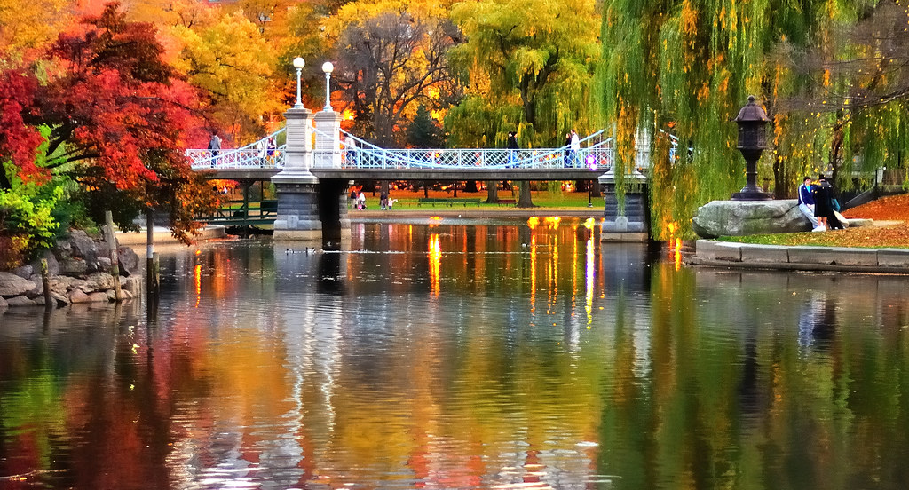 Impressionist boston public garden sunset light reflection flickr Boston public garden map