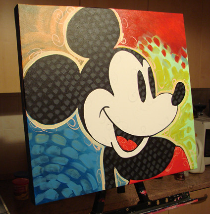 Painting of Mickey Mouse by DILLON | Spray Paint / Acrylic ...