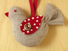 Cherry & Linen - Bird Ornament | by PatchworkPottery