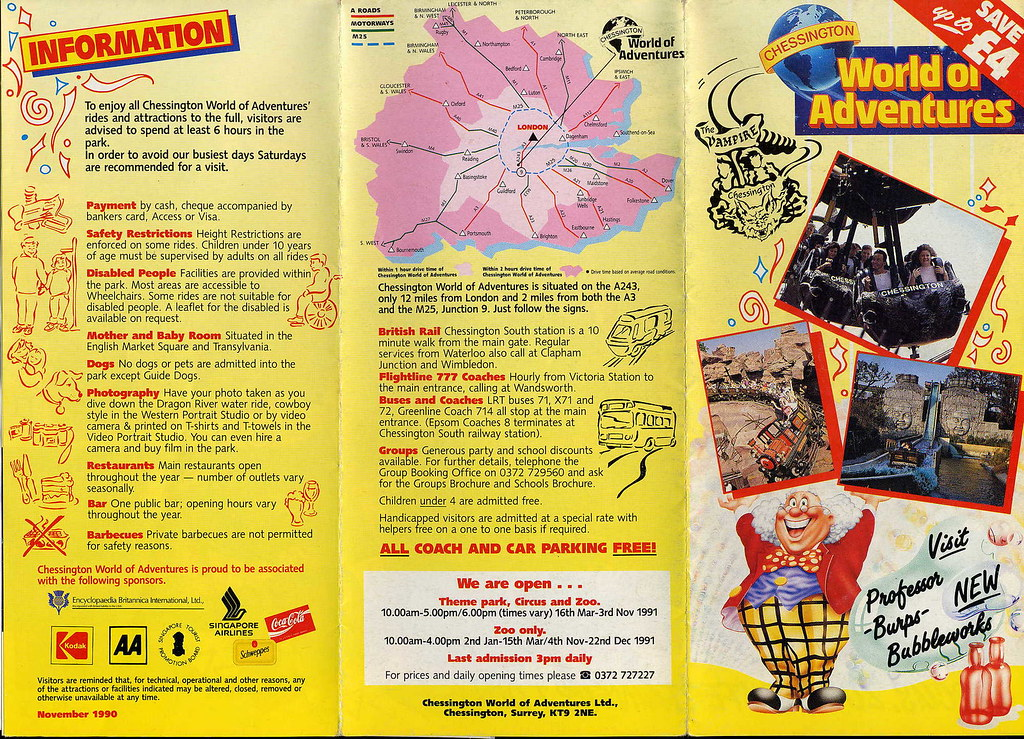 Chessington World Of Adventures 1991 Leaflet