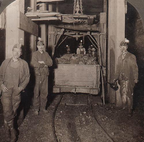 Scranton Coal Miners With Carbide Lights 1900 S