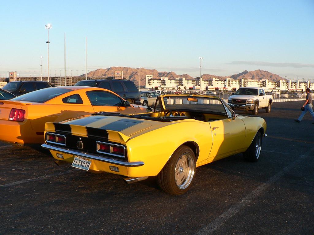 Yellow w/Black Stripes 1967 Camaro Convertible in parking ...