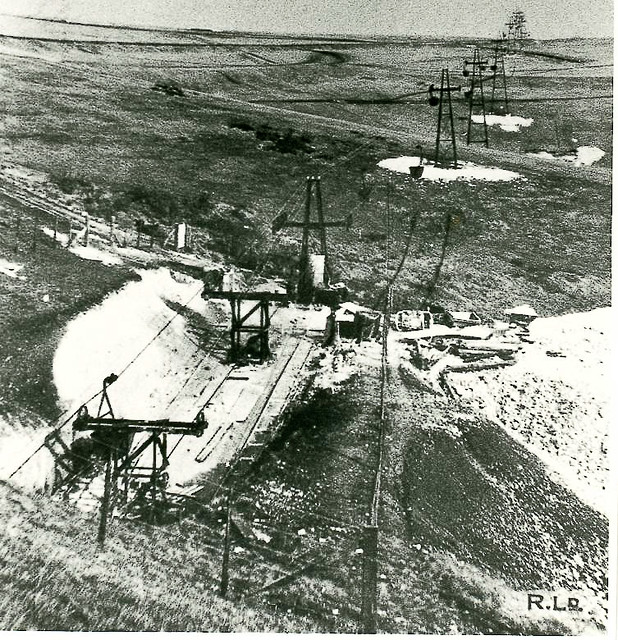 Aerial Ropeway Entering Tunnels Through White Cliffs At Do