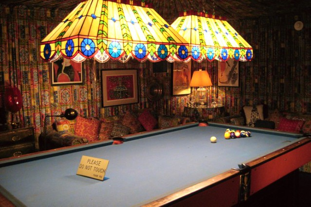 Billiard Room With Wall Fire Heater