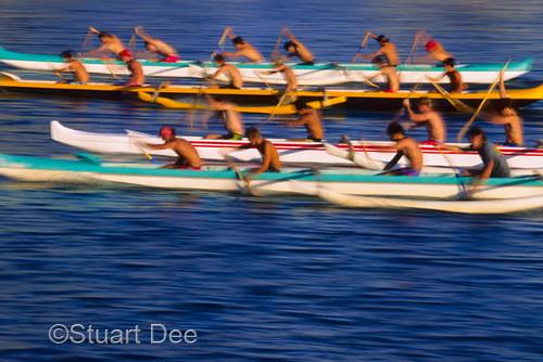 Outrigger Canoe Race Oahu Hawaii Usa Rowers In Motion