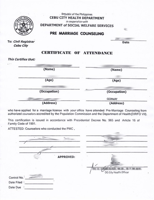 Pre Marriage Counseling - Certificate of Attendance | Flickr