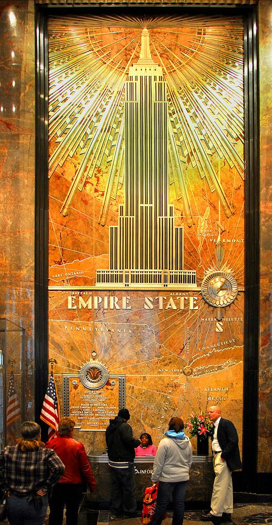 Mural in the lobby of the empire state building this for Empire state building mural