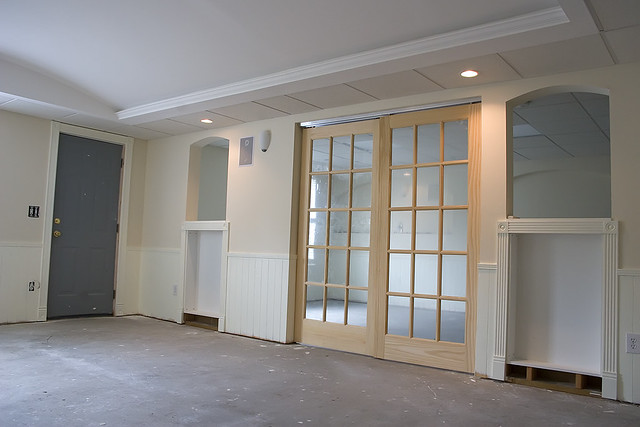 Basement  French Doors Installed On A Sliding Rail System. Black Kitchen Tiles Ideas. Kitchen Islands On Casters. White Kitchen Peninsula. Pinterest Kitchen Islands. Small Farmhouse Kitchen Table. Kitchen Cabinet Doors Painting Ideas. Small Modular Kitchen Designs. Green Kitchen Paint Ideas