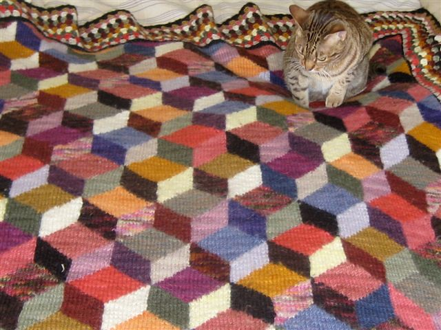 Knitted Quilt Block Patterns : Manos Afghan Claudia knit this amazing afghan using the wo? Flickr