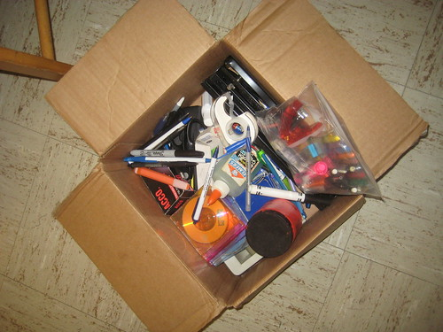 Excess: Box full of pens and office supplies | by nickjohnson