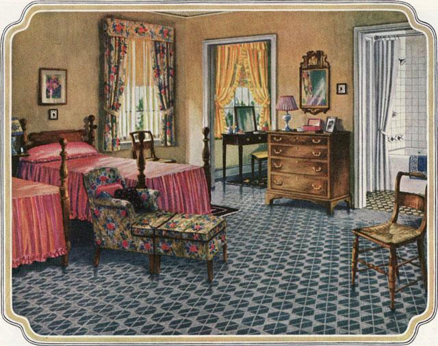 1926 Blabon Art Linoleum Bedroom Ladies Home Journal