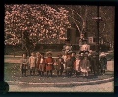 School children with teachers under Magnolia trees on Oxford Street | by George Eastman House