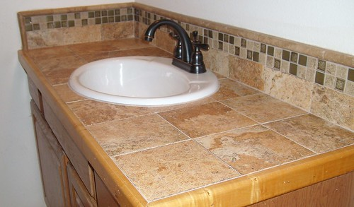 Bathroom Counter Remodel With Wood Trim And Epoxy Grout