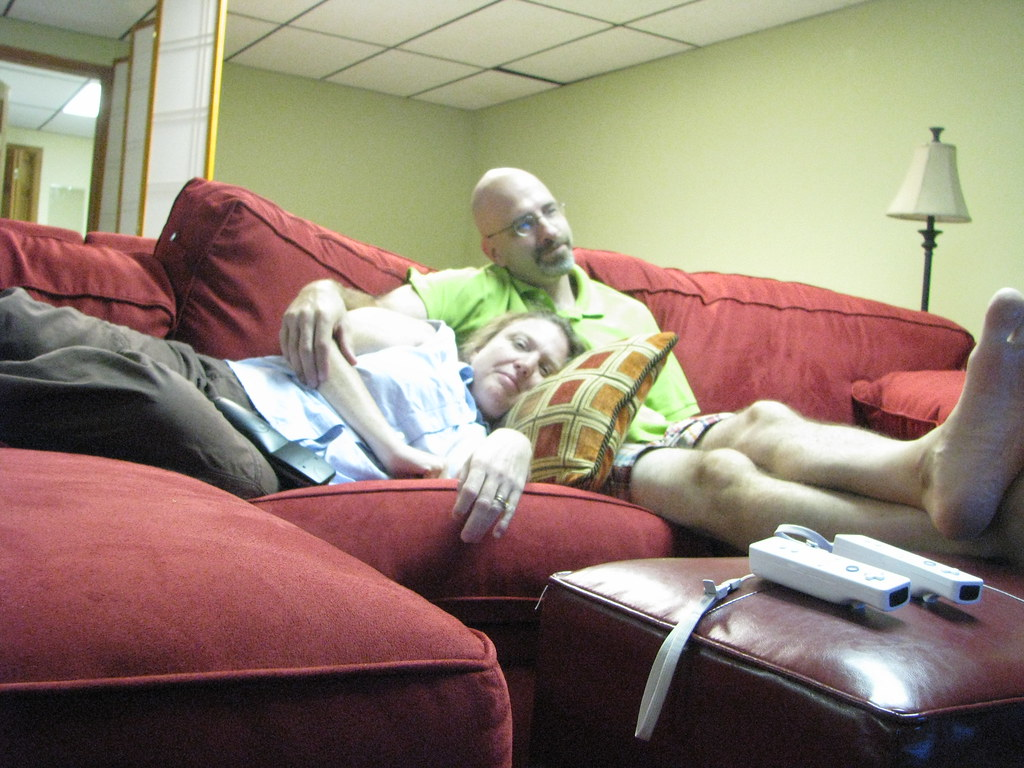 us on the big red couch relaxing with the wife on our big flickr. Black Bedroom Furniture Sets. Home Design Ideas