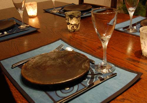 Decoration Table Bleu Cuivre