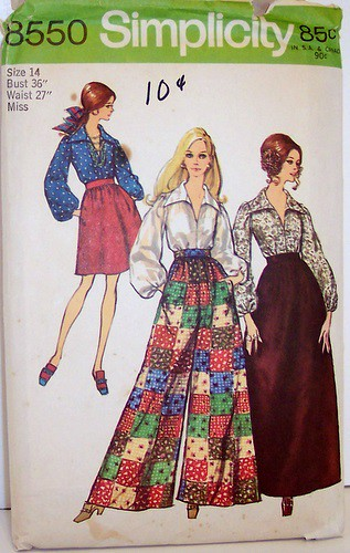 vintage simplicity pattern 8550 mod retro maxi skirt
