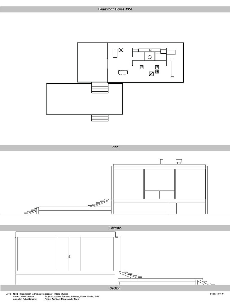 Farnsworth House Plans   The Farnsworth House was built in     Flickr