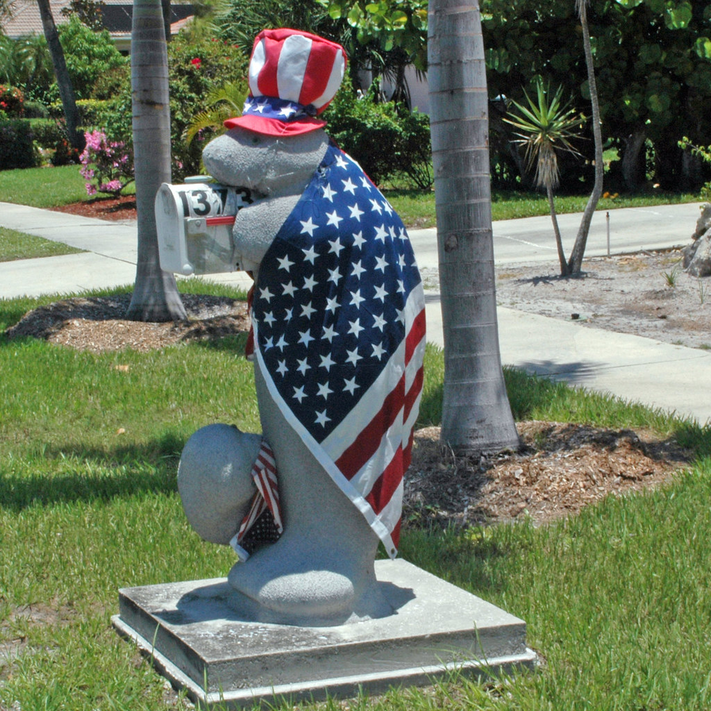 Mailbox Marco Manatee With Flag Decorative Mailbox In