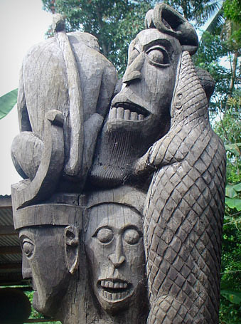 Dayak Totem Wooden Carved Totem Of The Dayak Tribe
