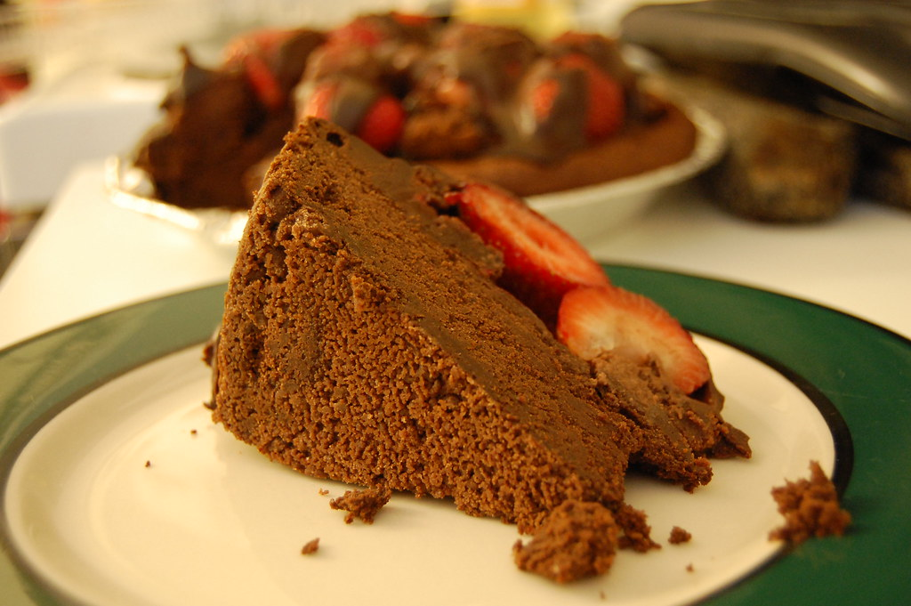 Strawberries On Chocolate Bundt Cake