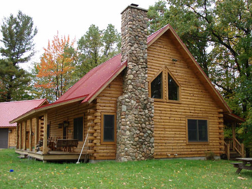 Classic Log Cabin With Stone Chimney They Will For The