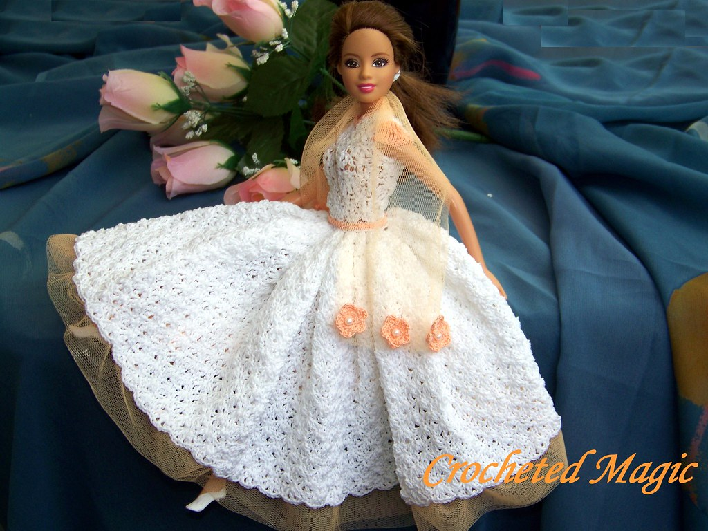 Absolute Romance Crocheted Barbie Doll Dress, white and pi ...