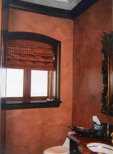 Terra cotta faux finish on walls this powder room was give flickr for What paint finish for living room