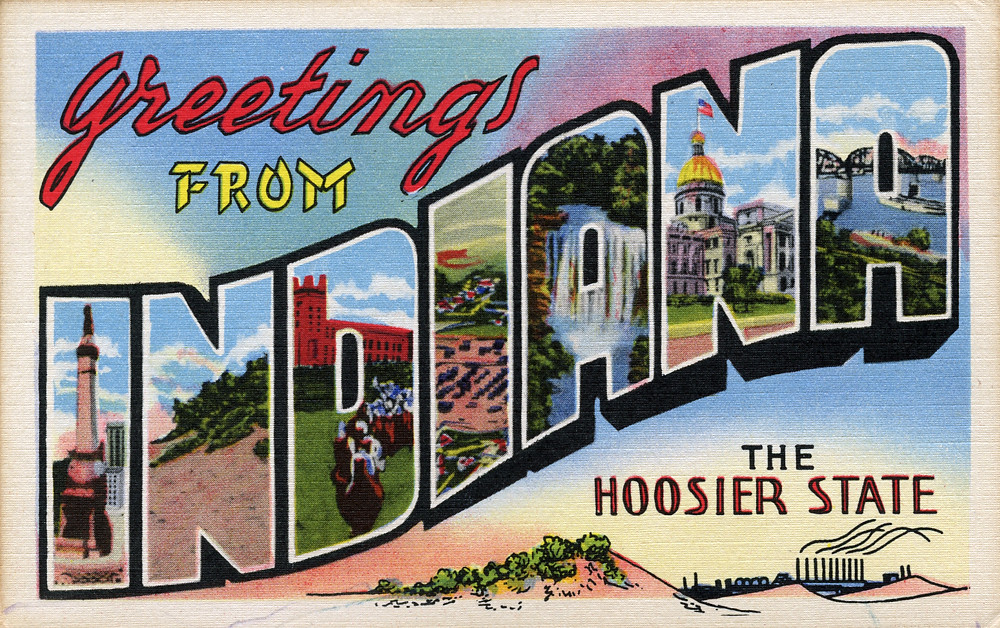 Greetings From Indiana The Hoosier State Large Letter P