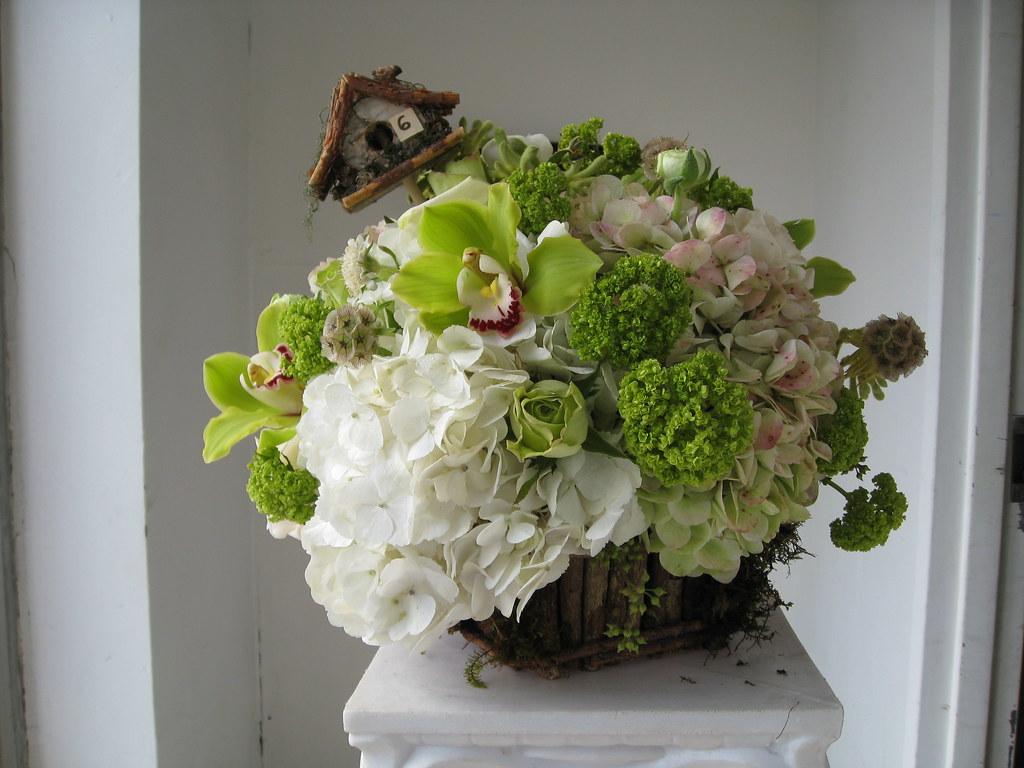 White Basket Centerpiece : Centerpiece petals by alice wedding in
