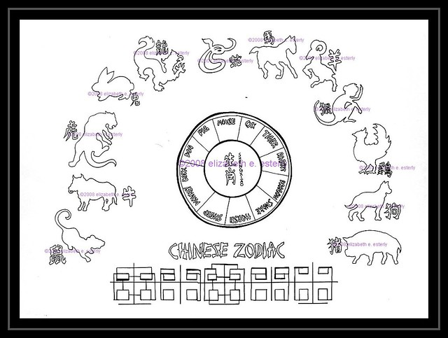tattoo flash chinese zodiac line color version is here flickr. Black Bedroom Furniture Sets. Home Design Ideas