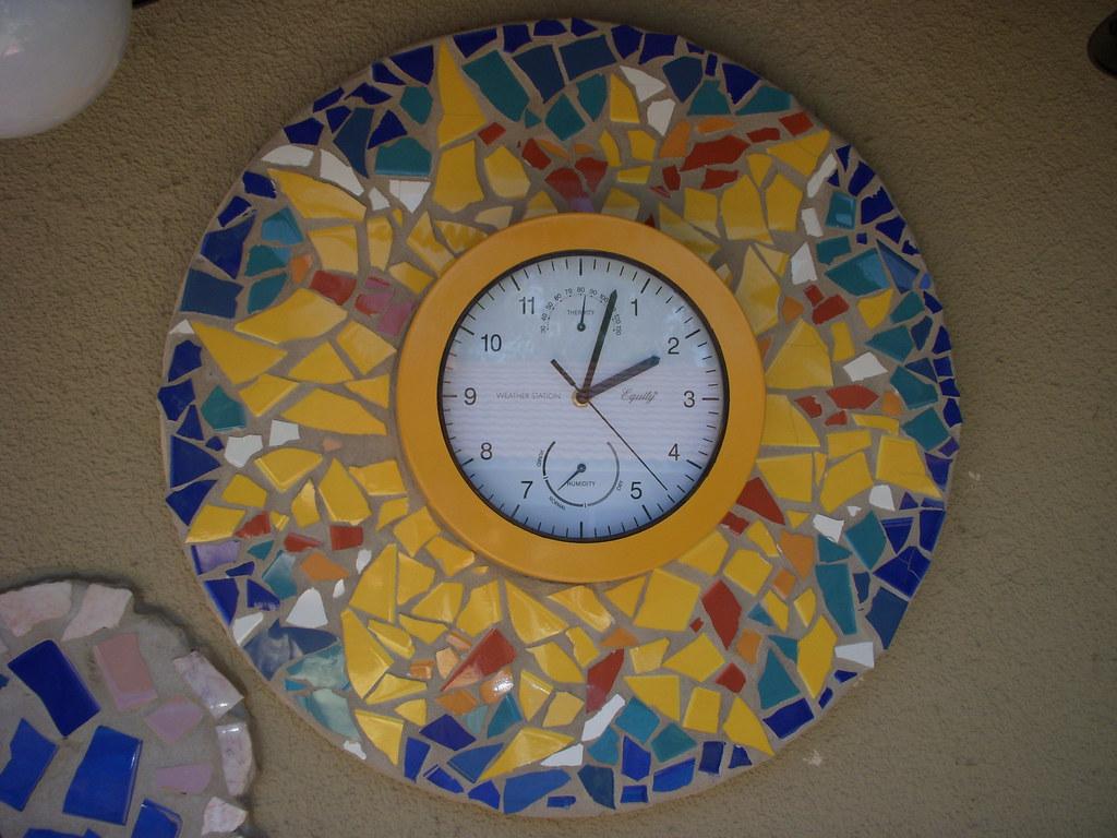 Mosaic Sun Clock Mosaic Sun Clock Ceramic Tile On Wood