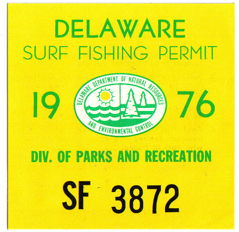 delaware 1976 surf fishing permit decal revalidating undat