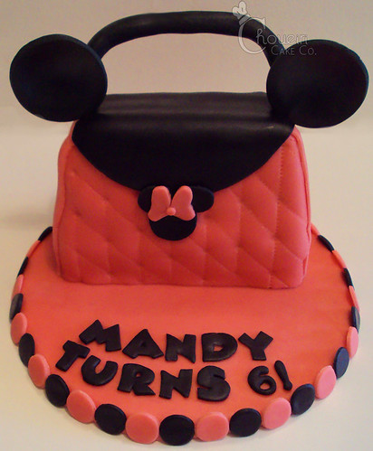 Minnie mouse purse cake carved spice cake with fondant and